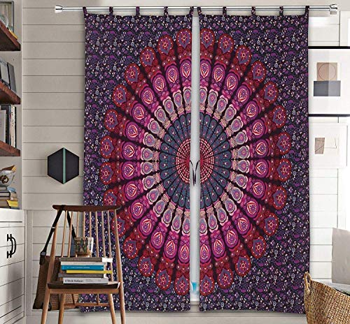 Boho Living Room Curtains, Bohemian Curtains For Bedroom, Tapestry Curtains, Mandala Hippie Dorm Decor (Shower Tapestry Curtain)