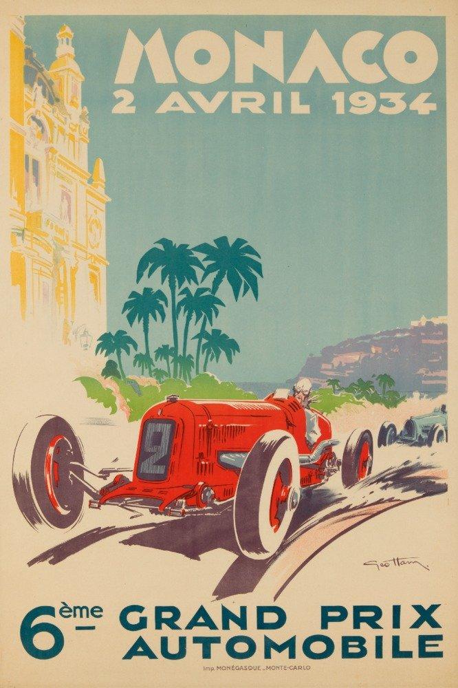 モナコグランプリ1934ヴィンテージポスター(アーティスト: Geo Ham )モナコC。1934 36 x 54 Giclee Print LANT-62463-36x54 36 x 54 Giclee Print  B01MPVP2H6