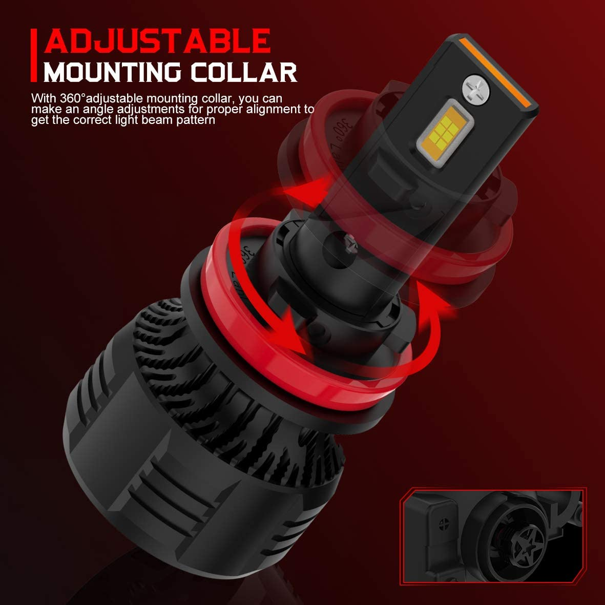 WAYRANK H11 LED Headlight Bulb 16000 Lumens 90W 6000K Cool White H8 H9 Conversion Kit