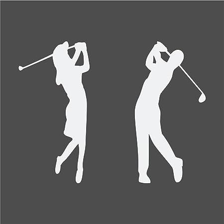Golferin Und Golfer Aufkleber Autoaufkleber 2 Stück Weissmatt Auto