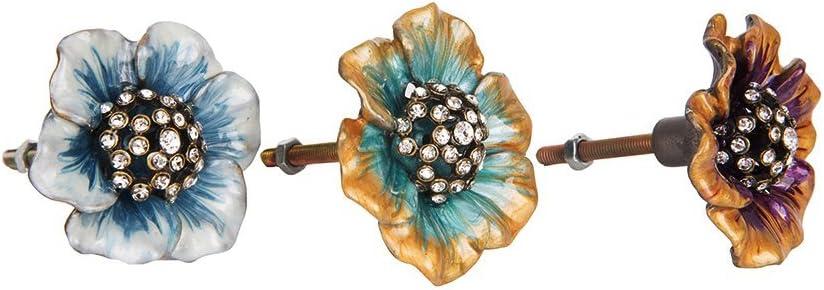 NIKKY HOME 2 Piezas Pomo y Tiradores Manija del Caj/ón Tir/ón Gabinete de Muebles Armario Forma de Flor Elegante Estilo Metal Decorativo P/úrpura