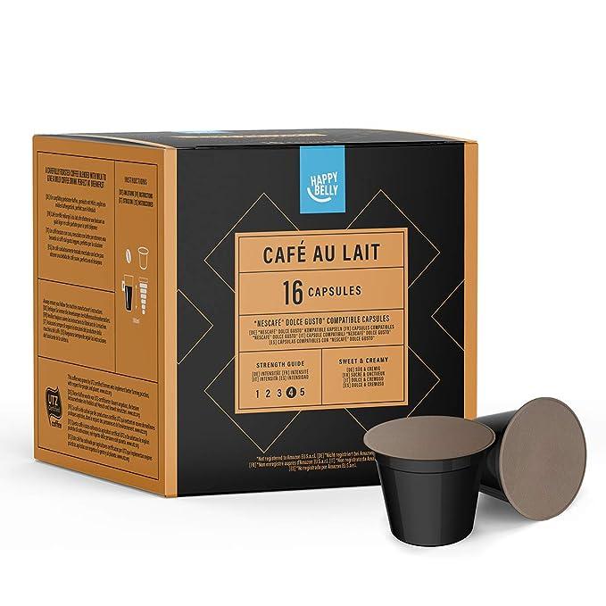 Marca Amazon- Happy Belly - Cápsulas Café au lait compatibles con NESCAFÉ* DOLCE GUSTO
