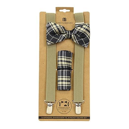 a74a36c56cc6 Image Unavailable. Image not available for. Color: Men's Khaki Charcoal  Checks 3 PC Clip-on Suspenders ...