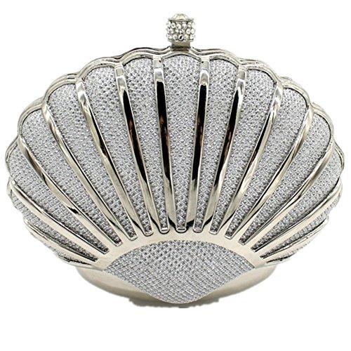 silver Handbags Purses Shiratori For Women Mini For Clutch Girls Seashell wxxFY1z
