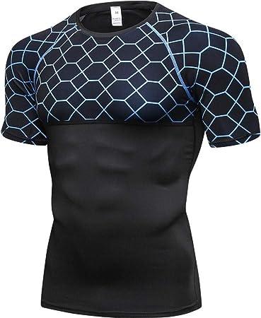Camisas for Hombre sin Mangas de compresión Seco de Manga Corta Deportes rápida T-Camisa de los Hombres Baselayer Top Baselayer Camisetas (Color : Blue, Size : M): Amazon.es: Hogar