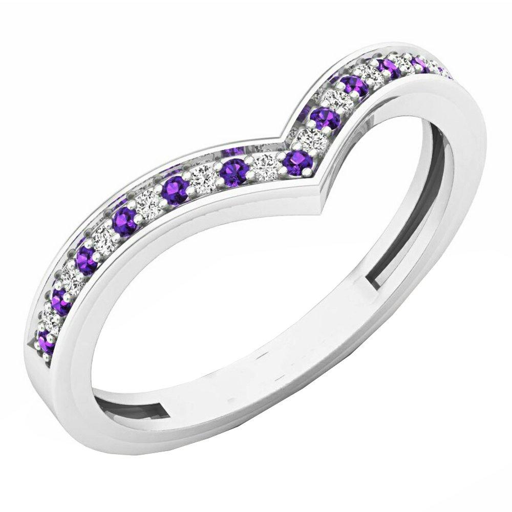 14K White Gold Round Amethyst & White Diamond Wedding Stackable Band Guard Chevron Ring (Size 6)