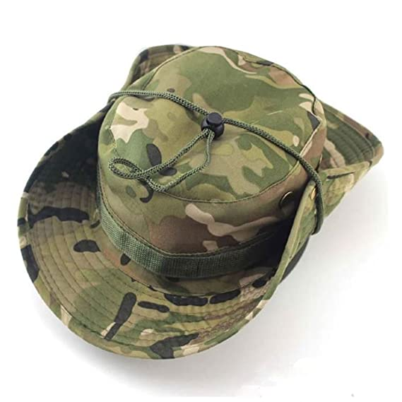 786f9e8ec62 Image Unavailable. Image not available for. Colour  Multicam Boonie Bush  Jungle Hat Wide Brim Army Military Sun Cap Cadet Bucket UK