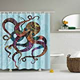 """Messagee New Octopus Mildew Resistant Fabric Shower Curtain Waterproof/Water-Repellent 72"""" x 72"""""""