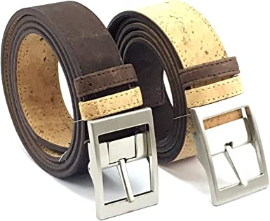 Corkor Cintur/ón de Corcho para Hombre Con Hebilla Plateada Vegano