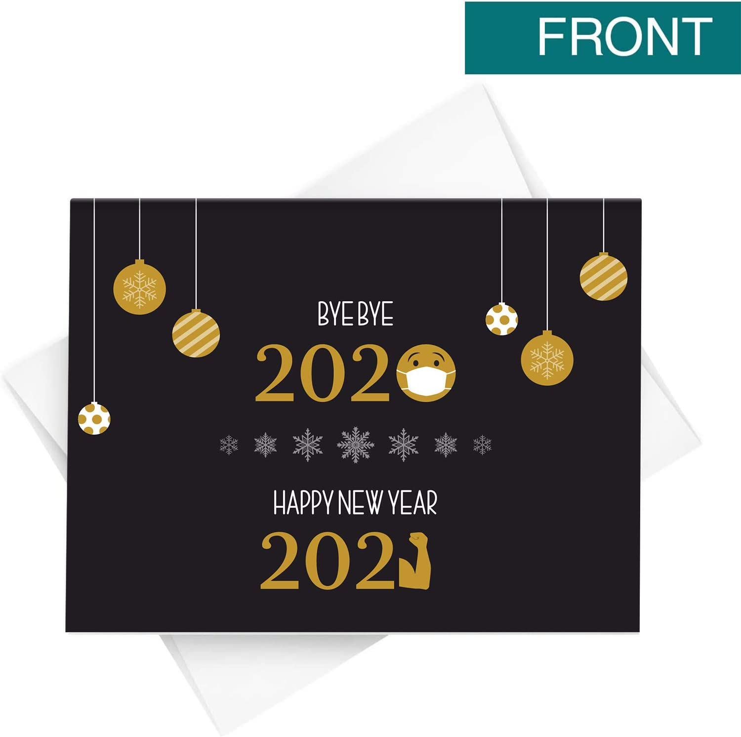 Amazon Com 2021 Happy New Year Holiday Greeting Cards Blank Holiday Fold Over Cards Envelopes Funny Emoji Cards For Christmas And New Year S 25 Cards And 25 Envelopes