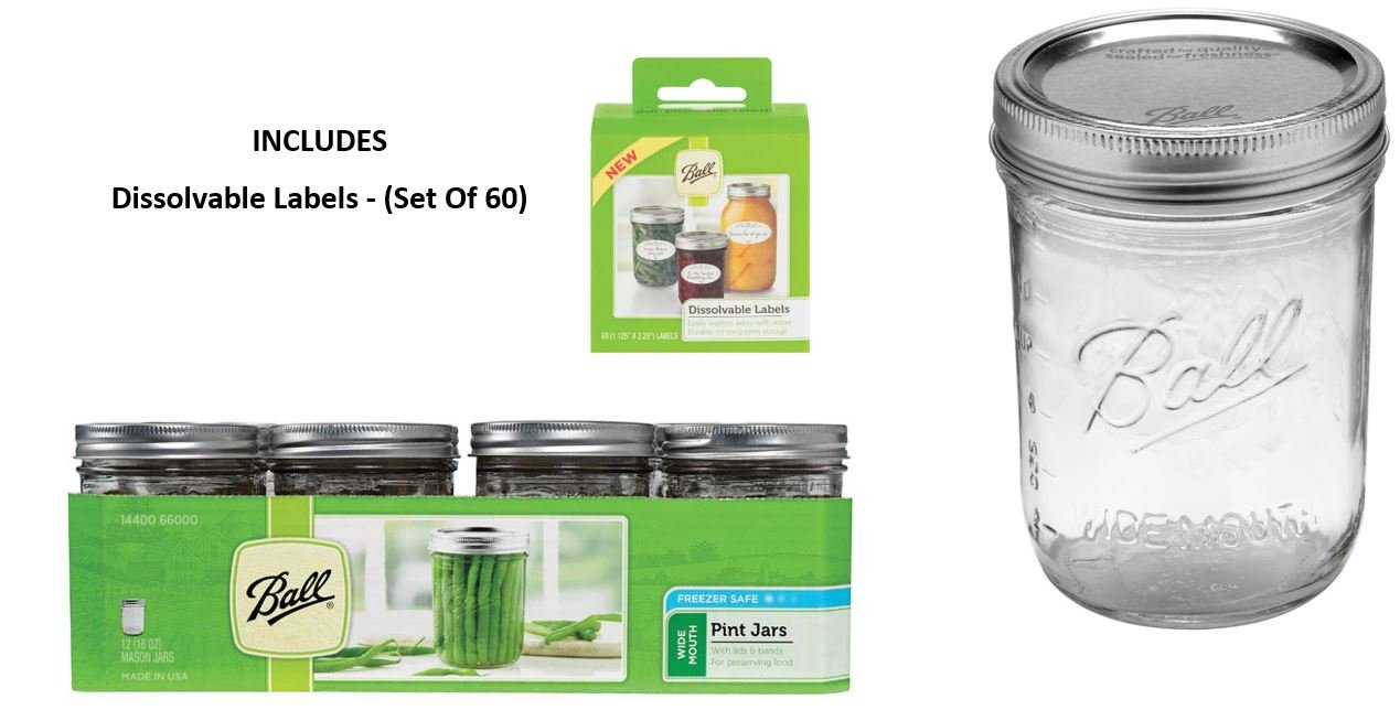Ball Mason PINT Jars Wide-Mouth Can or Freeze with Lids and Bands, Set of 12, Dissolvable Labels - (Set Of 60)