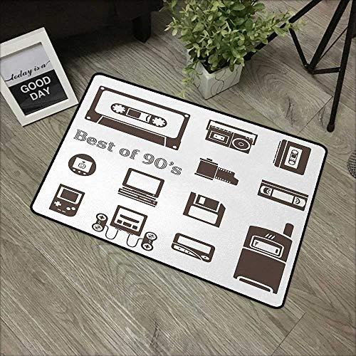 Restaurant mat W16 x L24 INCH 90s,Gadget of 90s Icons Pattern with Desktop Computer Video Game Joystick Nostalgia Theme Print,Brown Non-Slip, with Non-Slip Backing,Non-Slip Door Mat Carpet