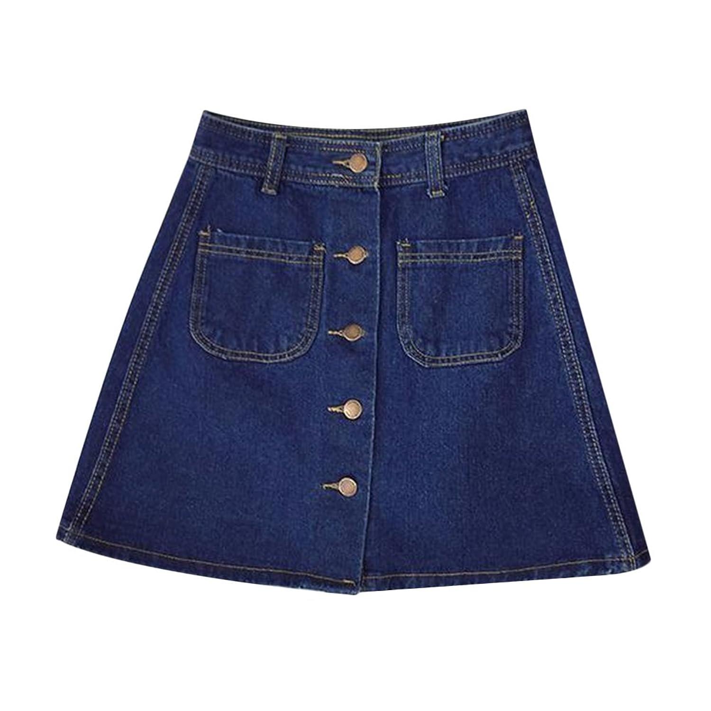 Womens Ladies A-line Pencil Jeans Skirt Front Button High Waist Denim Small Pockets Skirt