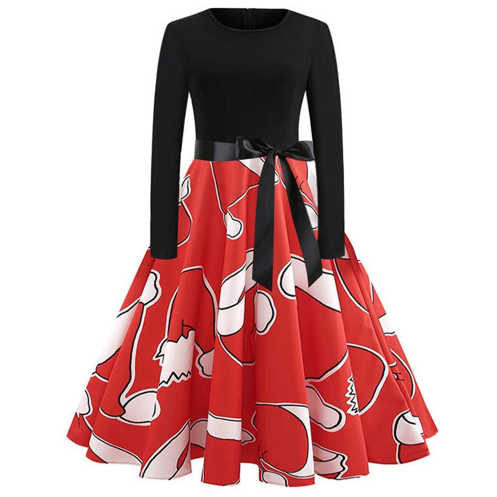 d38222248cf477 TIREOW Kleider Damen Vintage Print Langarm Weihnachts Abend Party Swing  Kleid