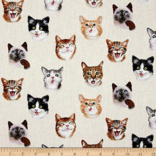 Elizabeth's Studio Pet Selfies Cats Cream Fabric by The Yard