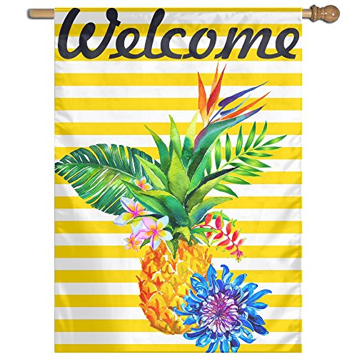 - BINGOGO Home Garden Summer Pineapple 28 x 40 Inch Decorative Welcome Tropical Flower Fruits Double Sided House Flag Outdoor Flags (Welcome)