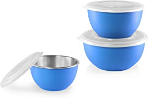 Shapes Microwave Safe Bowl with Airtight Lids - 3 Piece Stainless Steel, Unbreakable-Reusable- Dishwasher Safe, Polished Mirror Finish For Healthy Meal Mixing - Use for Home and Kitchen.
