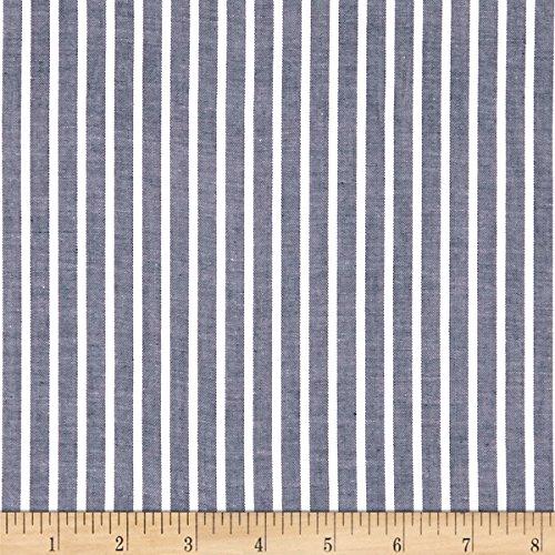 Fabric.COM Cotton Lawn Stripe White Navy Fabric by The Yard (White Cotton Lawn Fabric By The Yard)