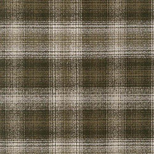 Robert Kaufman Mammoth Flannel Woven Cotton Green Cream Ombre - Fabric Plaid Green