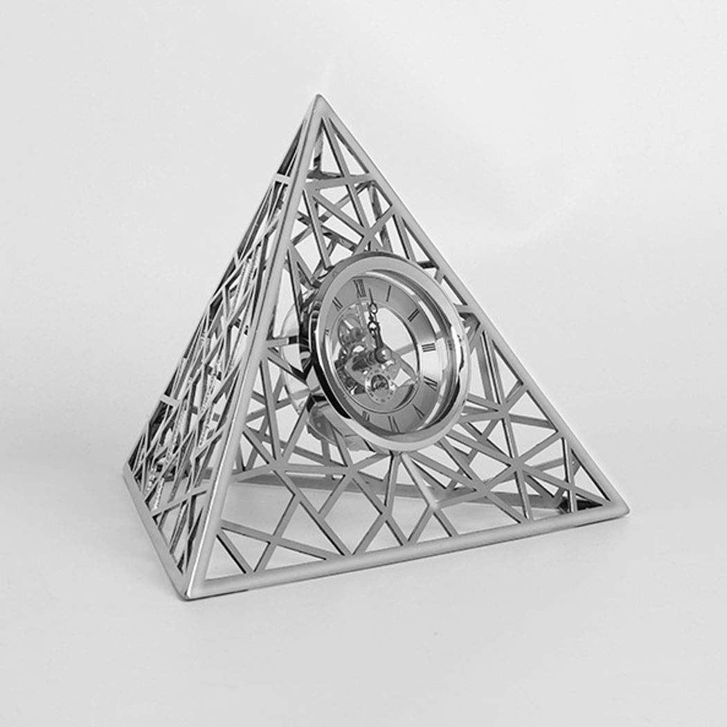 HONGNA New Home Accessories European Simple Modern Triangular Stainless Steel Clock Set Table Soft Decoration Model Room Decoration 8 Inches (Color : Silver, Size : 8 inches) by HONGNA (Image #2)