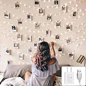 Twinkle Star 200 LED 66ft Fairy Copper String Lights USB and Adapter Powered with 9 Modes & Timer, Home Lighting Decor for Indoor Outdoor Bedroom Wall Patio, White