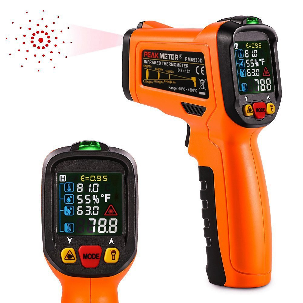 Digital Laser Infrared Thermometer,ZOTO Non Contact Temperature Gun Instant-read -122 ℉to 800℉with LED Display K-Type Thermocouple for Kitchen Cooking BBQ Automotive and Industrial PM6530D Thermometer