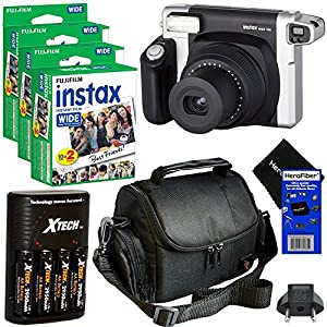 Fujifilm INSTAX 300 Wide-Format Instant Photo Film Camera (Black/Silver) + Fujifilm instax Wide Instant Film, Twin Pack (60 sheets) + 4 AA High Capacity Rechargeable Batteries with Battery Charger + Camera Case + HeroFiber Ultra Gentle Cleaning Cloth
