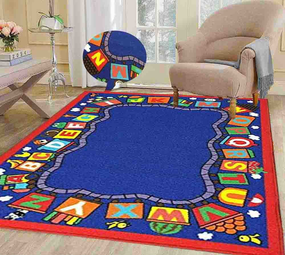 8x10 Kids Boys Children Toddler Playroom Rug Nursery Room Rug Bedroom Rug Fun Colorful ( Train ) by LA Rug Linens (Image #2)