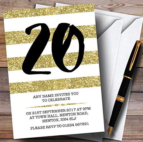 Glitter Gold & White Striped 20th Personalized Birthday P...