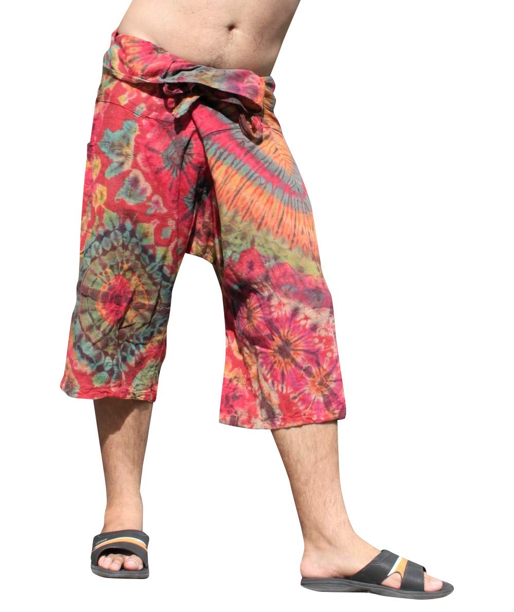 Full Funk Cotton Tie Dyed Natural Colorful Thai Fisherman Wrap 3/4 Leg Pants, Small, Burgundy Red by Full Funk