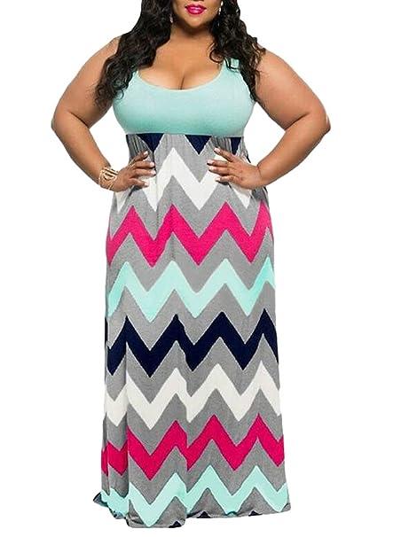 268fcf2eb72df Yayun Yayu Women s Block Color Bohemia Floral Print Plus Size Party Maxi  Dress Green 3XL