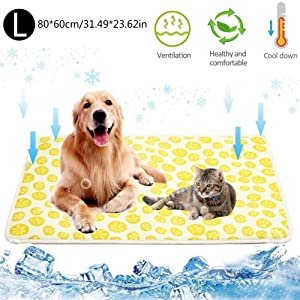 AKL Dog Cooling Mat, Pet Mat,Washable Pressure Activated Gel Ice Silk Mat No Need to Freeze Or Refrigerate, This Pet Self Cooling Blanket Keep Your Pet Cool, Use Indoors/Outdoors/in The Car