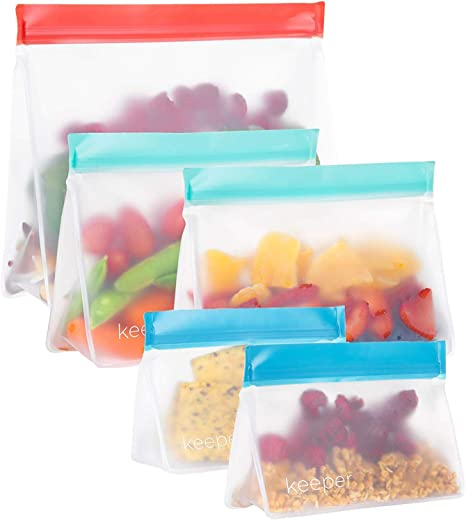 Keeper Reusable Snack Bags Set of 5, 32 oz Reusable Sandwich Ziplock Bags
