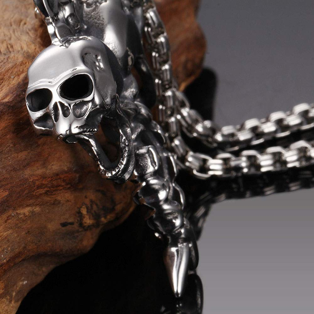 Punk Titanium Steel Necklace Mens Stainless Steel Cross Skull Pendant Silver Black Gothic Pendant Jewelry /Birthday Gift Stainless Steel Chain Pendant Color : Silver Black, Size : 5948MM