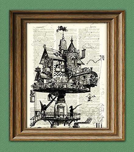 Vintage Dictionary Art Print Steampunk Aerial House Illustration Beautifully Upcycled Dictionary Page Book Art 3