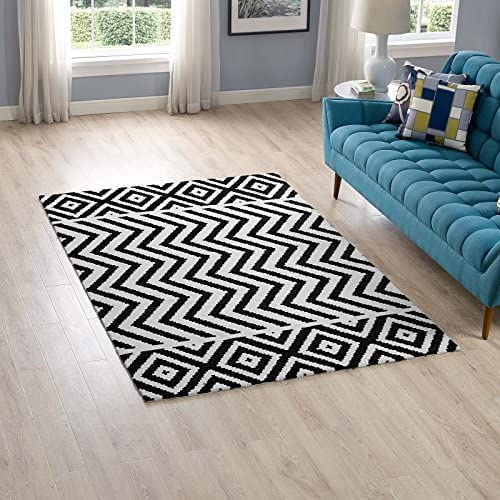 Modway Ailani Geometric Chevron Diamond Area Rug, 5X8, Black and White
