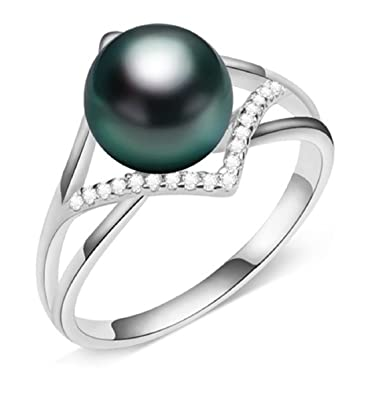 Amazon Com Gowe Pearl Jewelry Aaa Rings Tahitian Black Pearl Ring