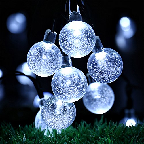 Globe Battery Operated String Lights with Timer - 30 LED 17.5ft Crystal Ball Decor Lighting for Outdoor Indoor Garden Patio Yard Fence House Wedding Xmas Wreath Christmas Tree Decorations - White