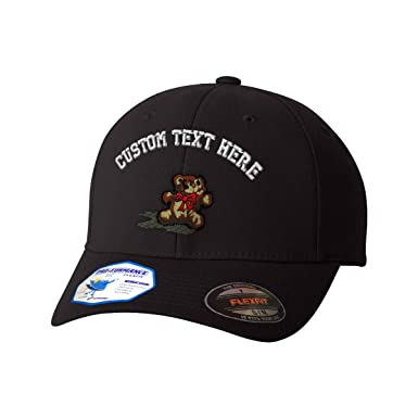 7ab12c64045a1 Custom Text Embroidered Teddy Bear Flexfit Hat Baseball Cap at Amazon Men s  Clothing store