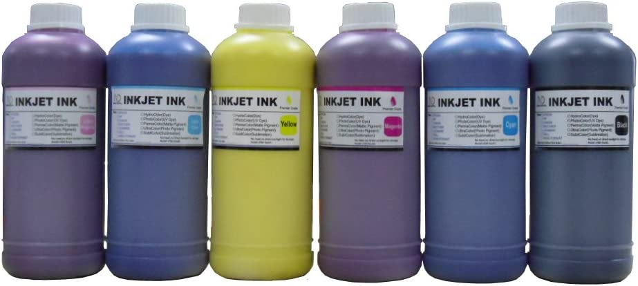 ND Brand Dinsink: 6 Pint Premium UV Pigment Refill Ink kit (BK/C/M/Y/LC/LM) for HP DesignJet 5000 Series. 5000 UV. 5000ps UV. 5500 UV. 5500PS UV. HP 83 cartridge and CISS. The item with ND Logo!