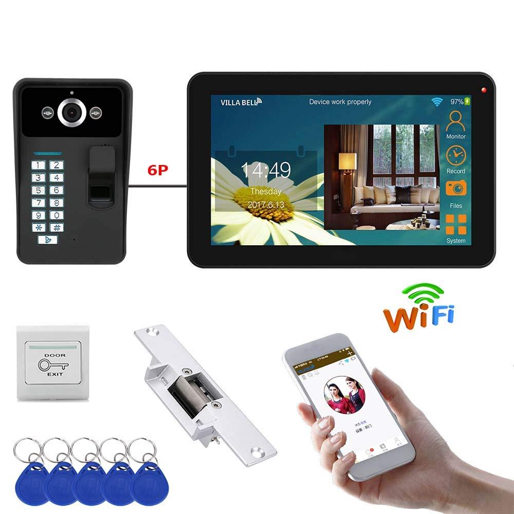超可爱 9インチの有線/無線 Wifi 指紋ビデオドアベル電話ドアベルインターホンシステムと電気ロック B07PPF77V7 + Wifi IR カット + HD 1000TVL カメラ B07PPF77V7, どんどん:9b165fd8 --- arianechie.dominiotemporario.com