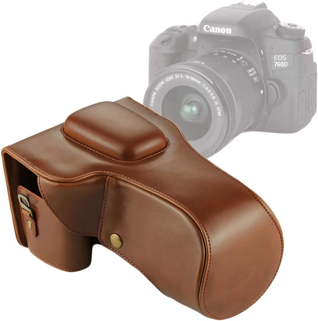18-135mm Lens Color : Brown 750D Yhuisen Full Body Camera PU Leather Case Bag Compatible with Canon EOS 760D
