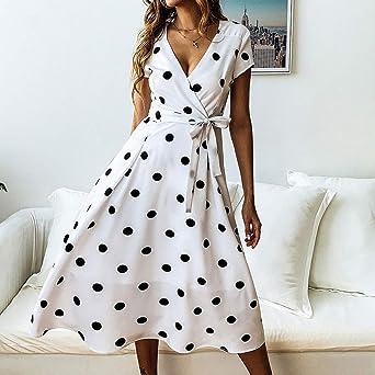 ZLDDE damska seksowna sukienka w kropki, dekolt w serek, sukienka midi, letnia sukienka: Odzież