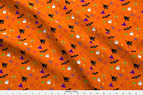 Spoonflower Ditsy Fabric Halloween Ditsy Print Fabric by Mejo Printed on Fleece Fabric by The -