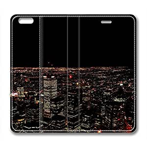 Night Scene Design High Quality Leather Case for Iphone 6 Plus Blue