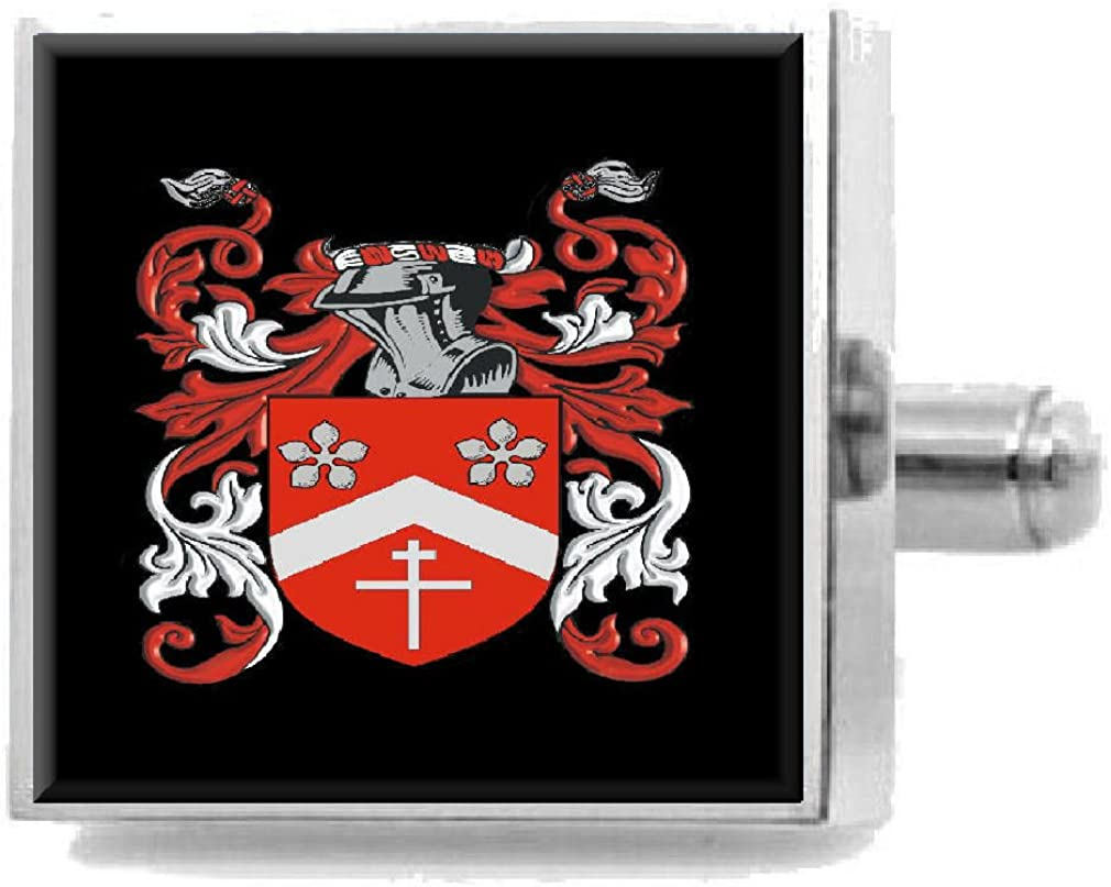 Select Gifts Marrow England Family Crest Surname Coat Of Arms Cufflinks Personalised Case