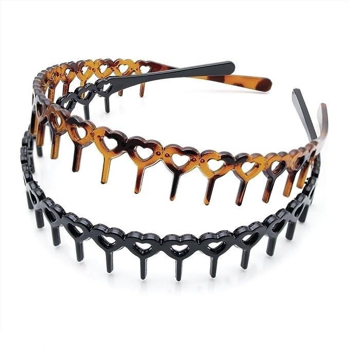 2Pc Set Tort And Black Zigzag Tooth Alice Band Headband