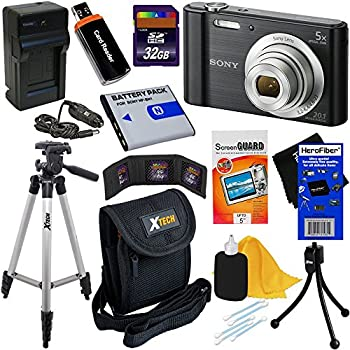 Sony Cyber-shot DSC-W800 20.1 MP Digital Camera with 5x Zoom & Full HD 720p Video, Black (Import) + NP-BN1 Battery & AC/DC Charger + 9pc 32GB Dlx Accessory Kit w/HeroFiber Gentle Cleaning Cloth