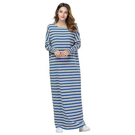 ASGHILL Vestido Falda Maxi de Vestir de Rayas de Punto Suelto ...