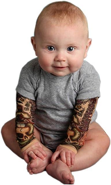 Ant-Kinds Infant Toddler Baby Boy Girl Tattoo Printed Sleeve Romper Bodysuit Jumpsuit